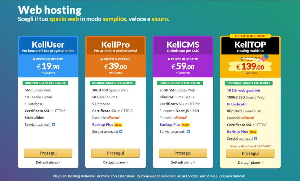 Prezzi dell'hosting classico di Keliweb