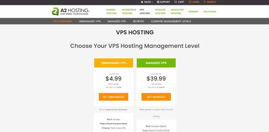 A2Hosting servizio di VPS