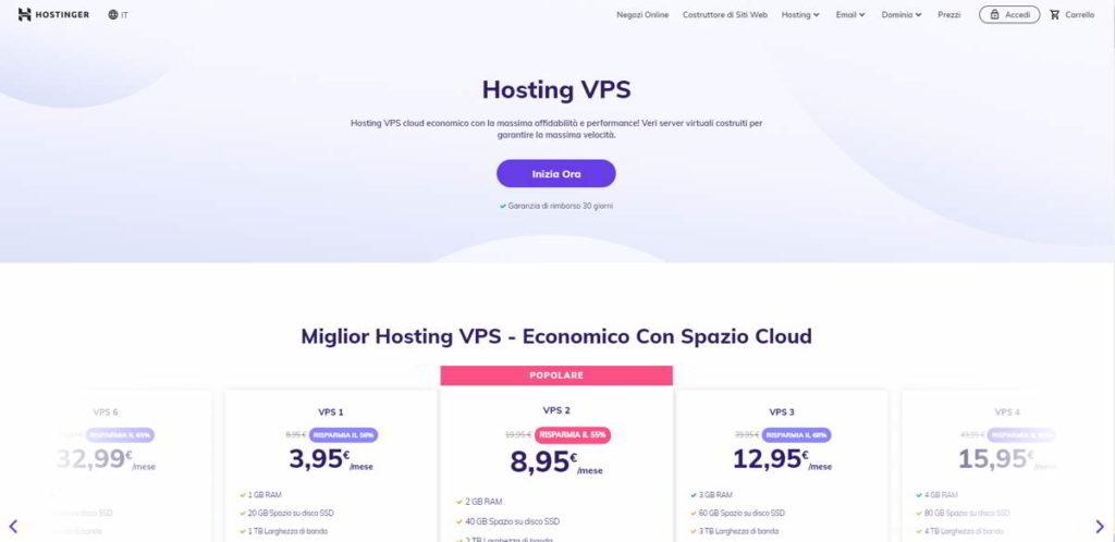 Hosting VPS con Hostinger