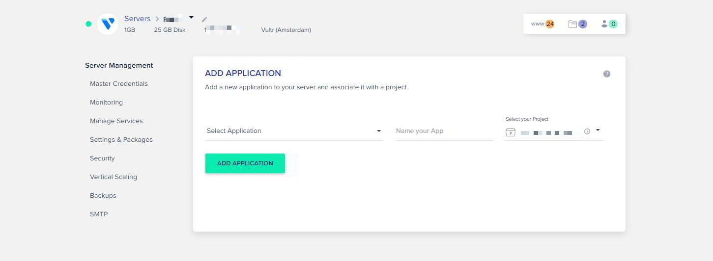 creazione applicazione cloudways