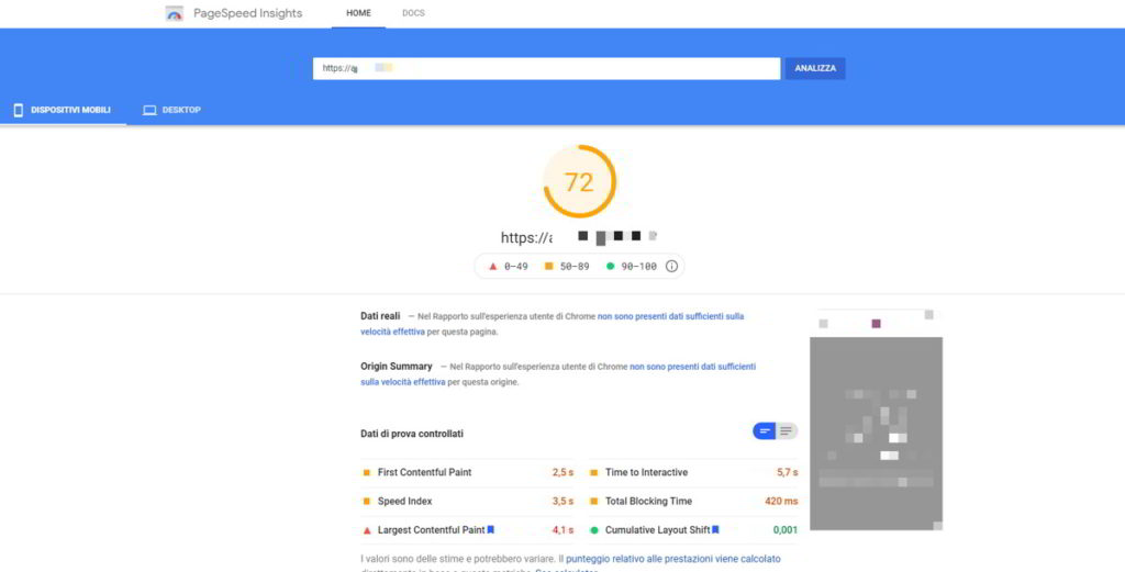 Test Google PageSpeed Insight dell'hosting condiviso Siteground